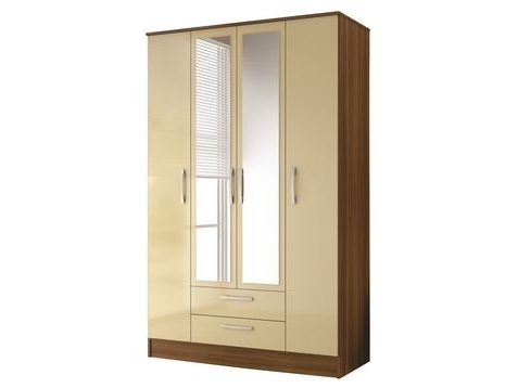 Cream Wardrobes For Most Recent Lucerne 4 Door Combination Wardrobe With Mirror (Walnut And Cream (View 4 of 15)
