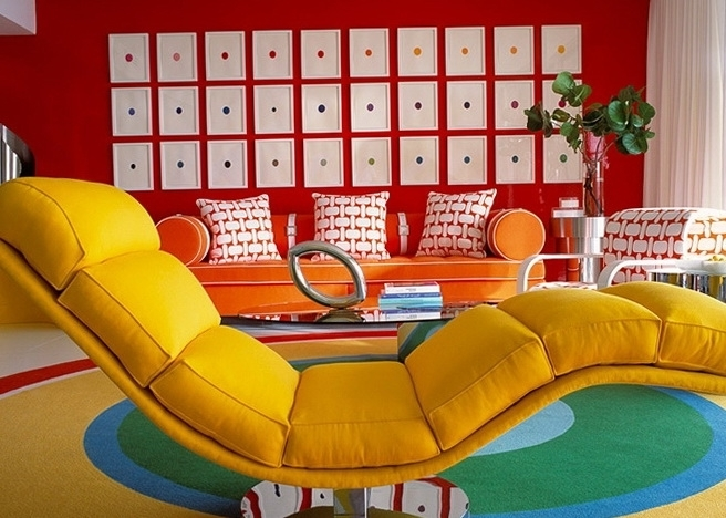Creative Idea : Bright Living Room With Yellow Chaise Lounge Chair Throughout 2017 Yellow Chaise Lounge Chairs (View 3 of 15)