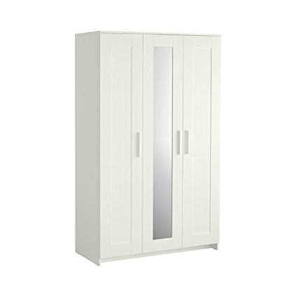 Current Amazon: Brimnes Home Bedroom Wardrobeswardrobe With 3 Doors With Regard To White 3 Door Wardrobes With Mirror (View 10 of 15)