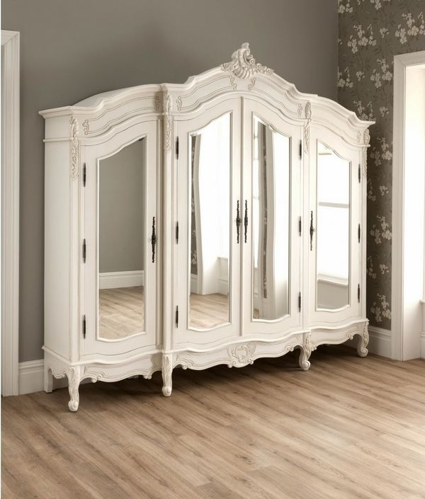 Current Antique French Style Wardrobe Armoire Stylish Bedroom Furniture In Antique White Wardrobes (View 5 of 15)