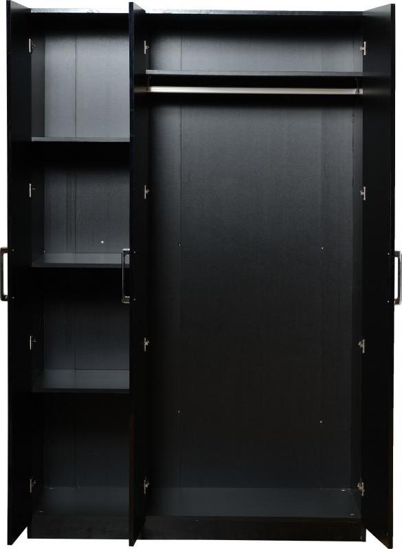 Current Black Gloss 3 Door Wardrobes In Milano Black Gloss And Walnut 3 Door Wardrobe Amos Mann Furniture (View 8 of 15)