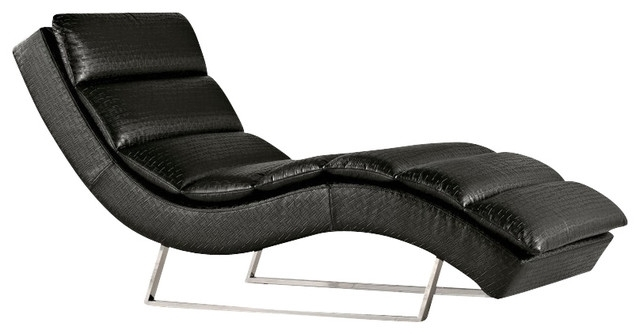 Current Black Indoors Chaise Lounge Chairs In Elegant Black Leather Chaise Lounge Modern Black Eco Leather (View 7 of 15)