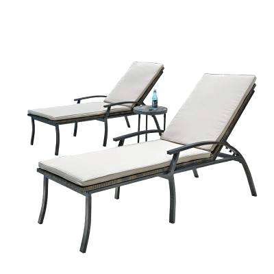 Current Black Outdoor Chaise Lounge Chairs With Regard To Black Chaise Lounge Outdoor Chaise Cushion Black White Stripe (View 8 of 15)