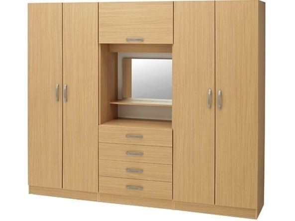 Cur Brand New Bedroom Fitment With 4 Door Wardrobe Central Dresser Within Wardrobes Mirror And