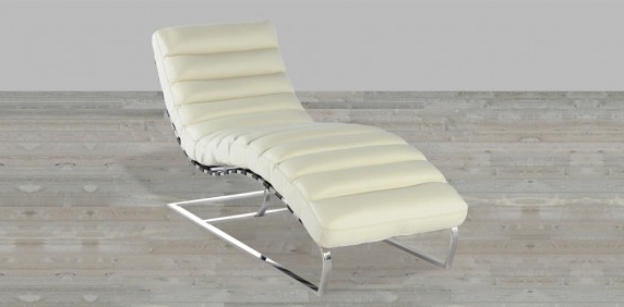 Current Chaise Lounges – Living Room In White Leather Chaises (View 3 of 15)