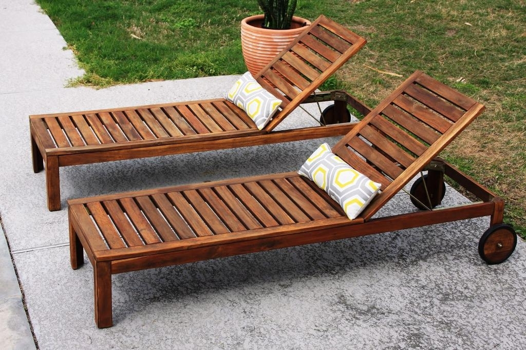Current Chaise Outdoor Lounge Chairs With Teak Wood Double Chaise Lounge Chair : Outdoor Teak Chaise Lounge (View 7 of 15)