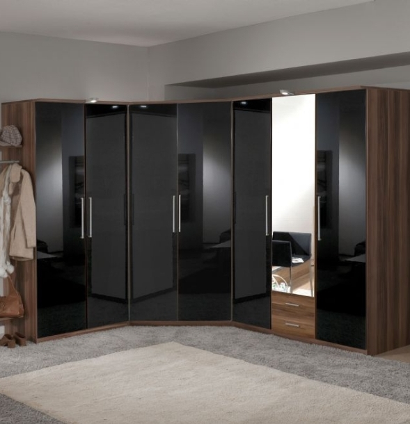Current Dresden 7 Door German Wardrobe Black Gloss And Walnut Regarding Cheap Black Gloss Wardrobes (View 7 of 15)