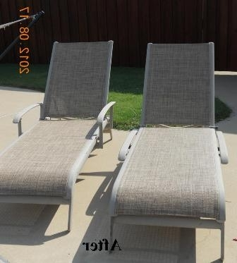 Current Fabric Outdoor Chaise Lounge Chairs In Agio Chaise Replacement Slings Using Our Chesterfield Fabric In Texas (View 5 of 15)