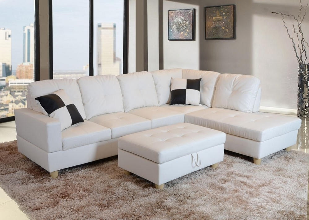 Current Faux Leather Sectional Sofas Within Low Profile White Faux Leather Sectional Sofa W/ Left Arm Chaise (View 3 of 10)