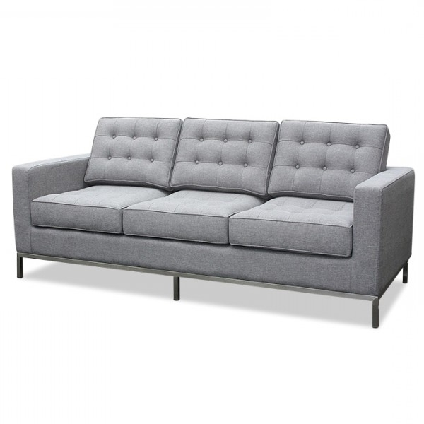 Current Florence Knoll Fabric Sofas Within Florence Knoll Fabric 3 Seater Light Grey Lounge Replica (View 2 of 10)