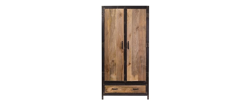 Current Industria Industrial Style Mango Wood Wardrobe – Miliboo Throughout Industrial Style Wardrobes (View 4 of 15)