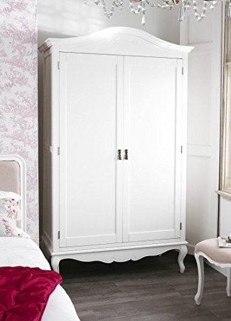 Current Juliette Shabby Chic Antique White Double Wardrobe (View 7 of 15)