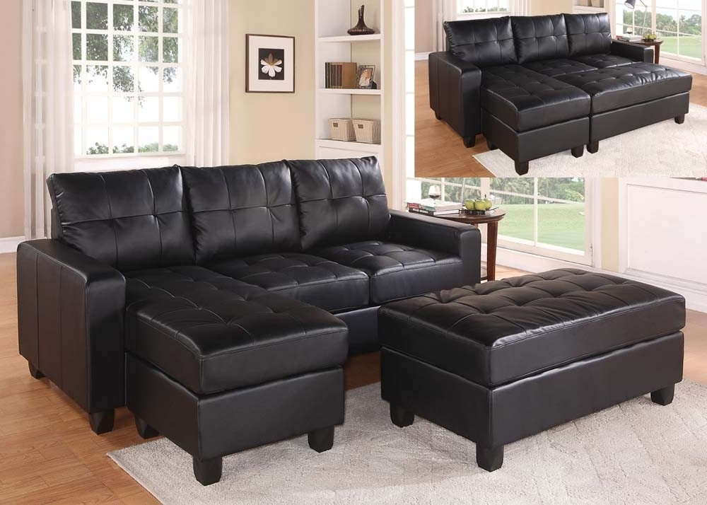Current Leather Sectional Sofas With Ottoman Pertaining To Black Faux Leather Sectional Sofa With Reversible Chaise And (View 1 of 10)