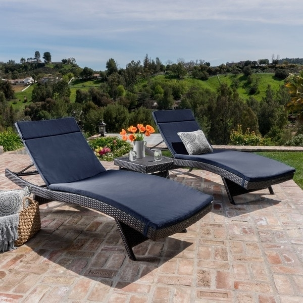 Current Luana Outdoor 3 Piece Wicker Adjustable Chaise Lounge Set With Inside Overstock Outdoor Chaise Lounge Chairs (View 4 of 15)