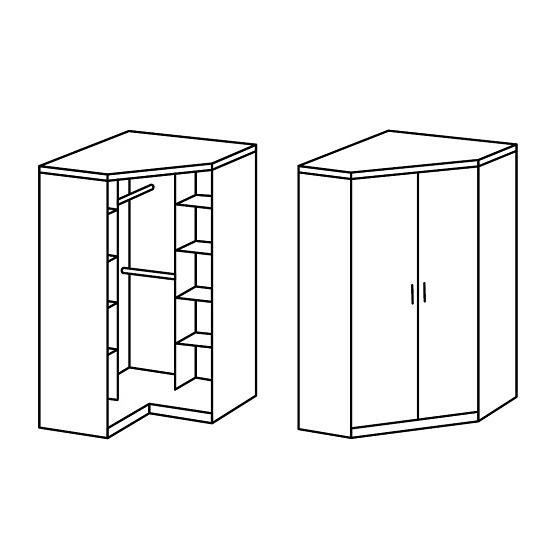 Current Octavia Corner Wardrobe In White Oak With 2 Doors 27737 With Regard To 2 Door Corner Wardrobes (View 7 of 15)