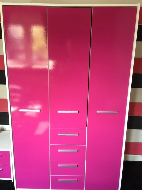 Current Pink High Gloss Wardrobes Regarding High Gloss Pink Wardrobe, Drawers & Bedside Cabinet (View 2 of 15)
