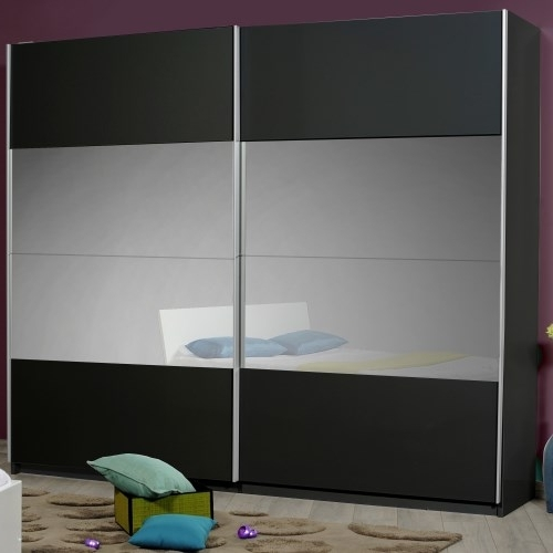 Current Sciae Optimus 36 2 Door Sliding Wardrobe In Black High Gloss Regarding High Gloss Black Wardrobes (View 4 of 15)