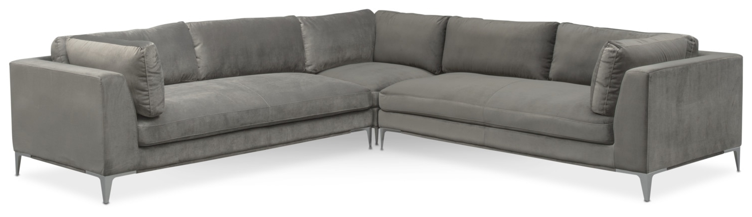 Current Sectional Sofas At Aarons For Aaron 3 Piece Sectional – Flannel (View 2 of 10)