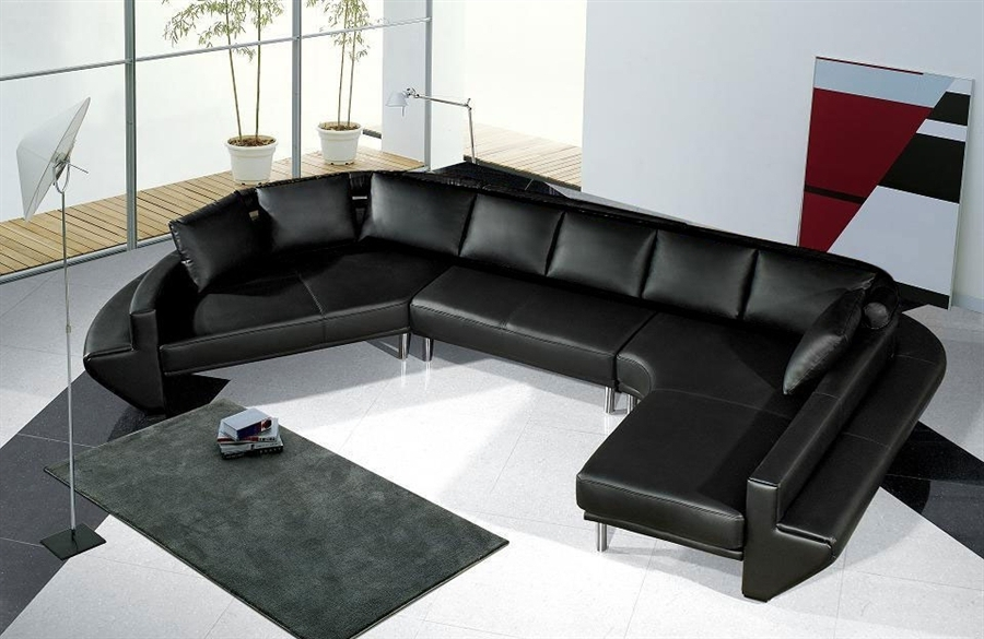 Current Vt Sectional Sofas For Spacious Modern Leather Sectional Sofa Set Tos Lf 2056 Bk At Sofas (View 4 of 10)