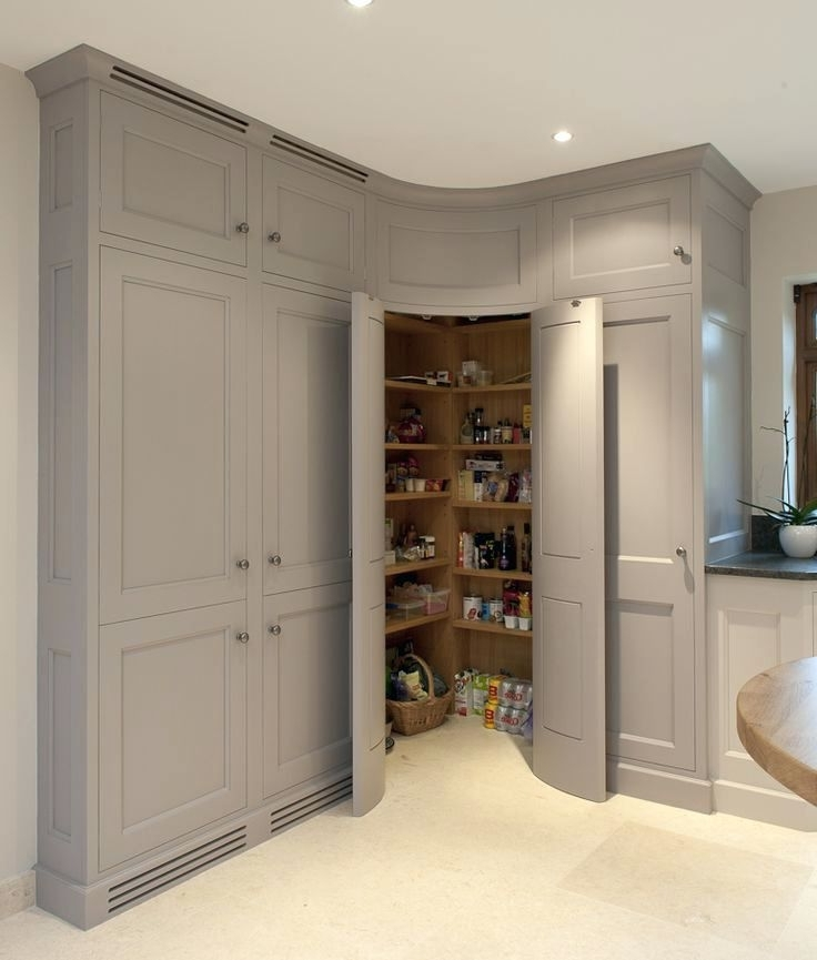 Curved Corner Wardrobes Doors With Regard To Most Current Wardrobes Corner Pantry With Convex Curved Doors Grey Kitchen (View 2 of 15)