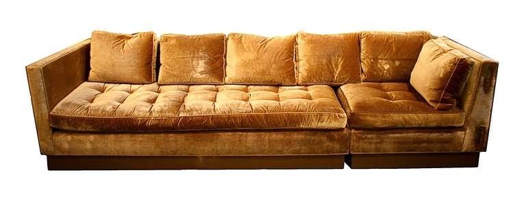 Custom Gold Silk Velvet Sectional Sofa, Usa 2000 At 1Stdibs With Regard To Recent Velvet Sectional Sofas (View 5 of 10)