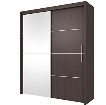 Dark Brown Wardrobes In Fashionable Inova Sliding Door Wardrobe Wenge Dark Brown 150Cm (P4Xt4115) – (View 4 of 15)