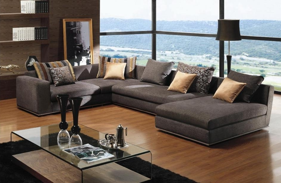 Dark Gray Deep Sectional Sofa — Fabrizio Design : Deep Sectional With Most Recent Sectional Sofas With Chaise (View 3 of 15)