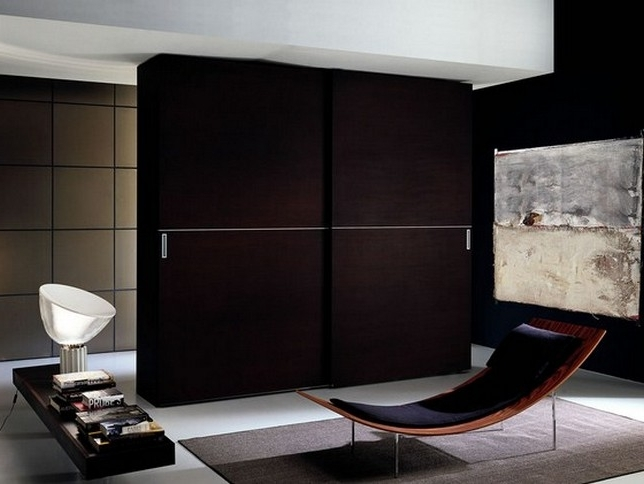 Dark Wood Wardrobes With Sliding Doors In Preferred Dark Wood Wardrobe Sliding Doors Design – Interior Home Decor (View 4 of 15)