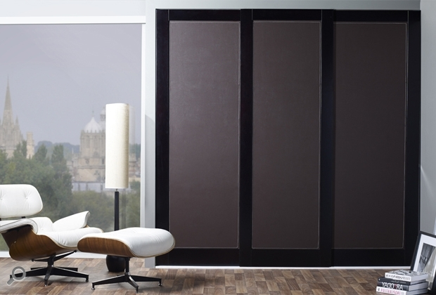Dark Wood Wardrobes With Sliding Doors Pertaining To Recent Aspen Leather Sliding Wardrobe Doors With Dark Walnut Frame Finish (View 5 of 15)