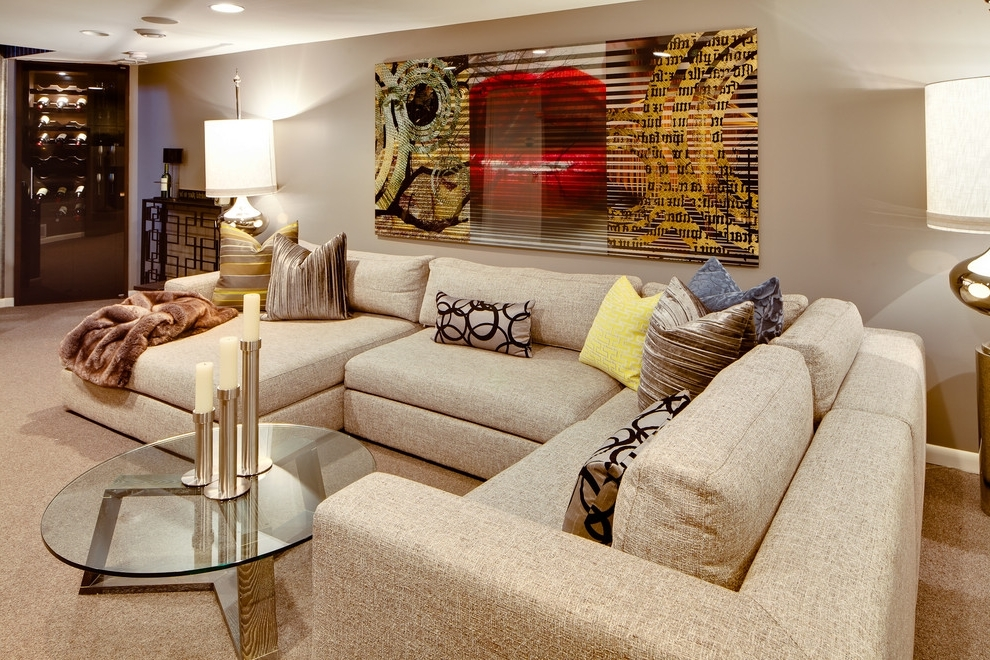 Deep U Shaped Sectionals Regarding Widely Used U Shaped Sectional Living Room Modern With Modern Leather (View 4 of 10)