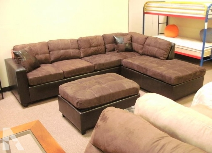 "Denver Sectional Sofas Throughout 2018 Chocolate ""two Tone"" Microfiber Sectional / Sofa – New – (Denver (Gallery 4 of 10)"