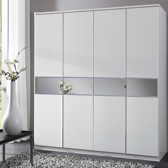 Diamant 4 Door Wardrobe With Glass In Centre 21994 Within Trendy Wardrobes With 4 Doors (Gallery 8 of 15)