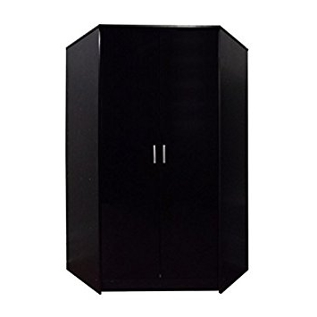 "Direct Furniture ""khabat"" 2 Door Corner Wardrobe, Mdf/chipboard Inside Well Known Black Corner Wardrobes (Gallery 5 of 15)"