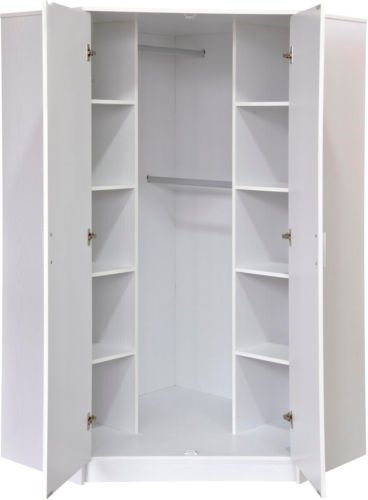 "Direct Furniture ""khabat"" 2 Door Corner Wardrobe, Mdf/chipboard Intended For Most Recently Released White Corner Wardrobes (View 3 of 15)"