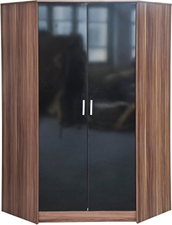 "Direct Furniture ""khabat"" 2 Door Corner Wardrobe, Mdf/chipboard Regarding Famous Black Gloss Wardrobes (View 6 of 15)"