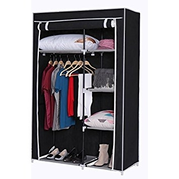 Double Black Covered Tidy Rail Wardrobes In Trendy Vonhaus Double Canvas Effect Wardrobe – Clothes Storage Cupboard (View 4 of 15)