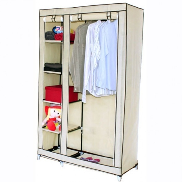Featured Photo of Double Canvas Wardrobes Rail Clothes Storage Cupboard
