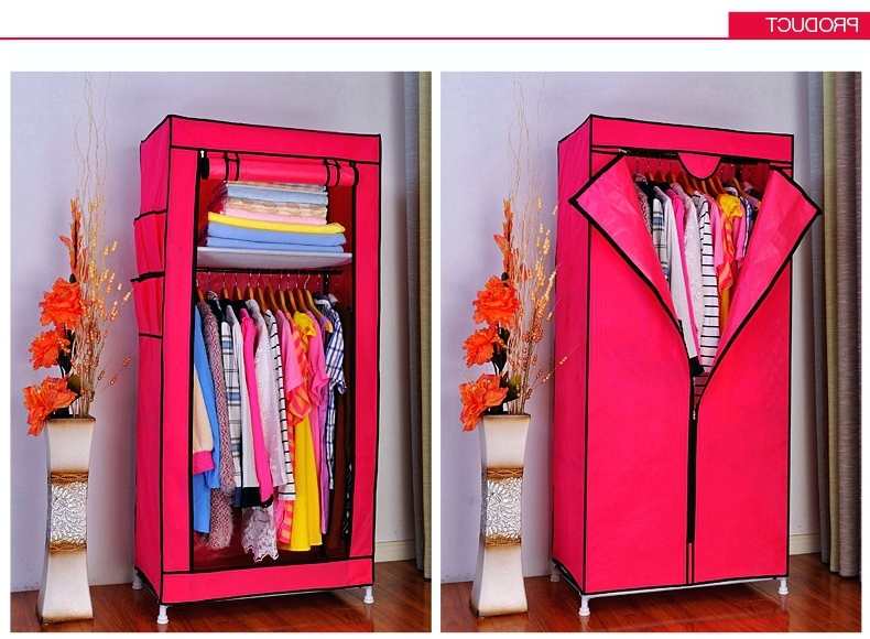 Double Canvas Wardrobes Rail Clothes Storage Inside Most Current Wardrobes ~ Fabric Wardrobe Storage Portable Double Canvas (Gallery 3 of 15)
