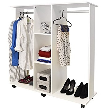 Double Hanging Rail Wardrobes With Regard To Fashionable Mobile – Double Open Wardrobe / Clothes Hanging Rail – White (Gallery 12 of 15)