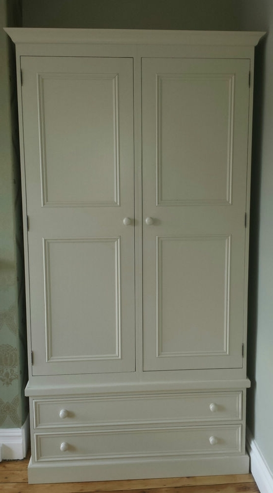 Double Pine Wardrobes With Regard To Trendy Farrow And Ball Painted Pine 2 Door Double Wardrobe With Drawers (View 7 of 15)