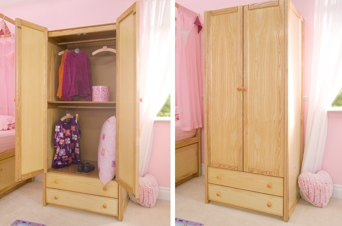 Double Rail Childrens Wardrobes Throughout Popular Wooden Double Combi Wardrobe (Gallery 1 of 15)