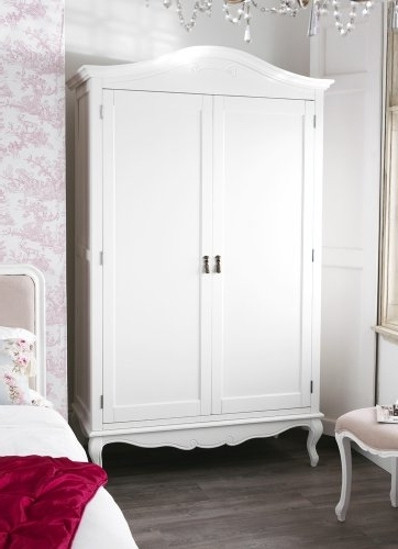 Double Rail Wardrobes With Drawers With Regard To 2017 Juliette Shabby Chic Antique White Double Wardrobe (View 8 of 15)