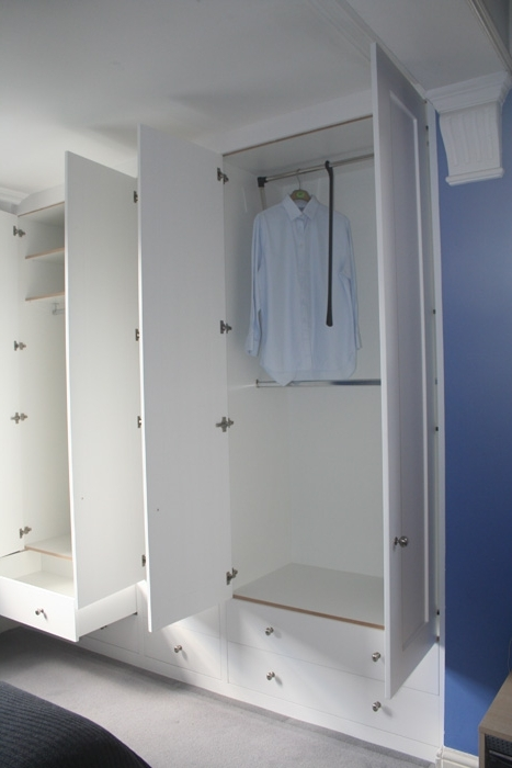 Double Rail White Wardrobes Regarding Famous Spaced In Wardrobe Gallery (View 4 of 15)
