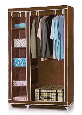 Double Up Wardrobes Rails Regarding Most Popular Vinsani Double Canvas Foldable Clothes Wardrobe Closets Cupboard (View 3 of 15)
