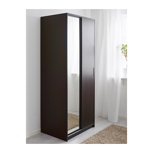 Double Wardrobes With Mirror Within Recent Trysil Wardrobe Dark Brown/mirror Glass 79X61X202 Cm – Ikea (View 3 of 15)