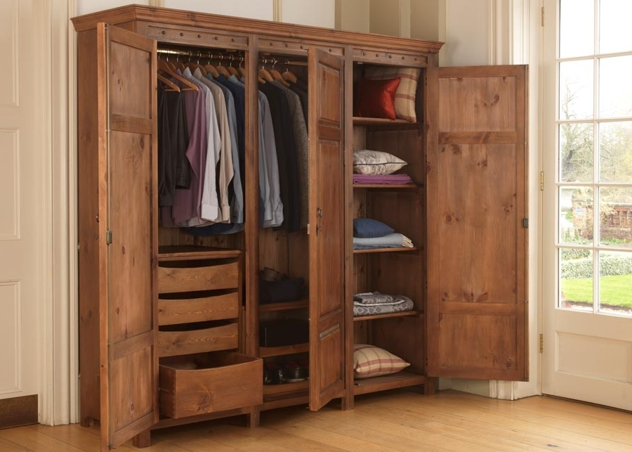 Drawers And Shelves For Wardrobes With Famous 3 Door Wooden Wardrobe With Drawers, Shelves And Hanging Rails (View 7 of 15)