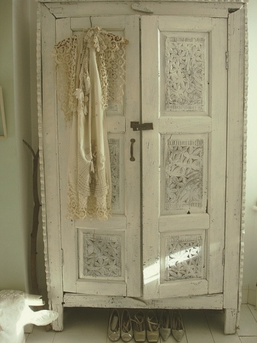Dressing Room Inside White Shabby Chic Wardrobes (Gallery 7 of 15)