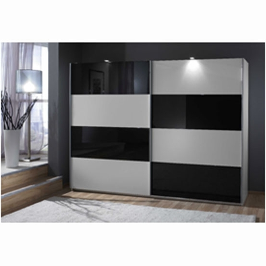 Easy Plus Sliding Wardrobe In White And Black Glass 10740 Throughout Well Known Black And White Wardrobes Set (Gallery 4 of 15)