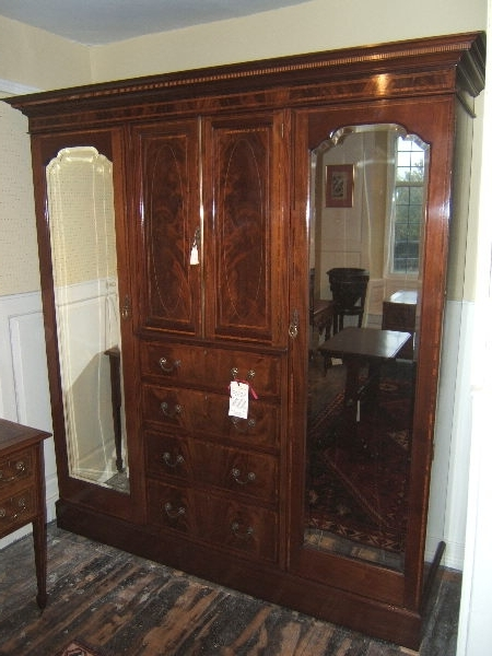 Edwardian Mahogany Compactum Wardrobe – Antique Mahogany Wardrobe Uk Regarding Popular Antique Triple Wardrobes (View 7 of 15)
