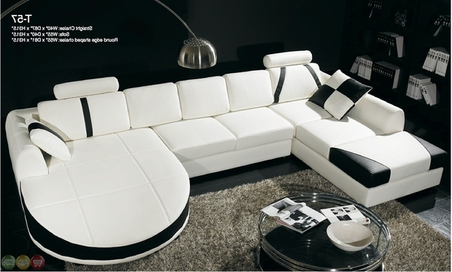 Elegant White Leather Sectional Sofa With Chaise Casa Black And Regarding Favorite Dual Chaise Sectionals (View 9 of 15)